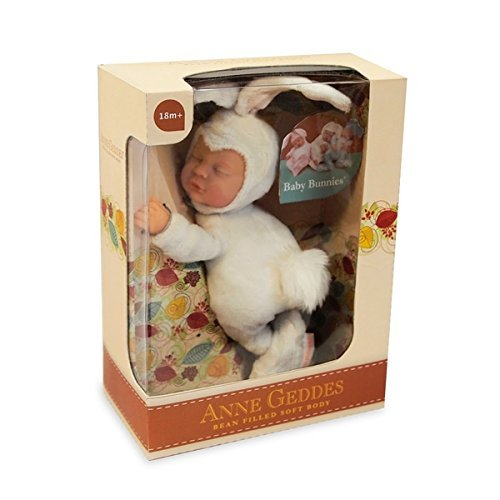 Anne Geddes Baby Snow White Sleeping Bunny Rabbit - Soft Bean Filled Collection 9 Inch / 23 cm / Bebe Durmiendo Bebé Conejito Nieve Blanco