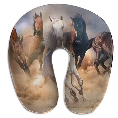 Desert Sand Wild Horse Memory Foam Almohada para el Cuello de Viaje Almohada Cervical portátil U para Acampar