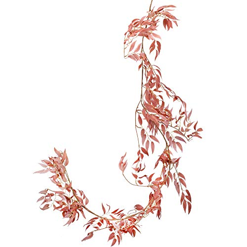 NAHUAA Vides Colgantes Artificiales Guirnalda 175cm Rojo Falso Seda Willow Rattan Mimbre Hojas de Vid Decoraciones para el Hogar Ventanas Balcón Patio Patio Festivales de Bodas