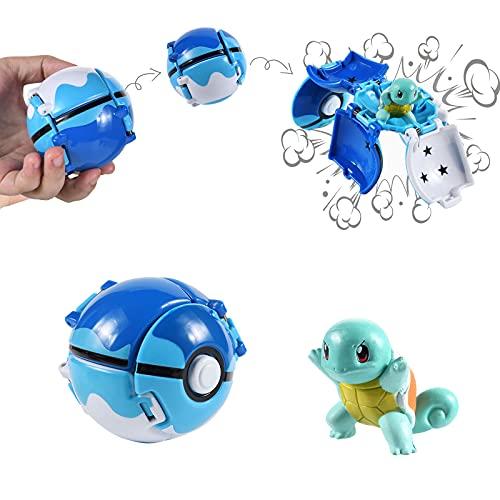 Figuritas Bolas, figuritas Figuras with Throw Pop figuritas Ball Toy Set para Niños y Adultos Celebración de Fiestas DivertidoJuego de Juguete de Regalo (Squirtle)
