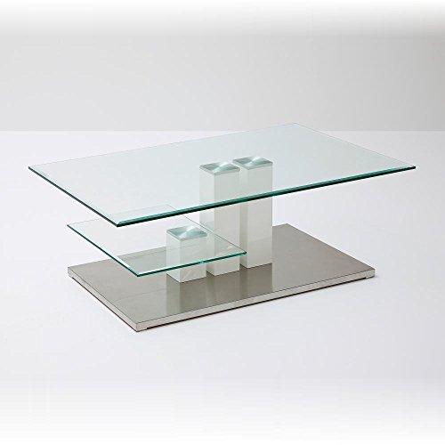 Robas Lund Couchtisch Glastisch Wohnzimmertisch Weiß Hochglanz Edelstahl, Nils BxHxT 110 x 40 x 70 cm