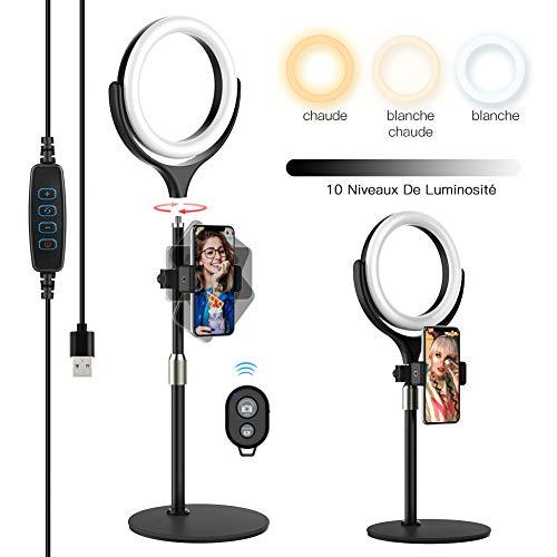 Yoozon LED Lumière Anneau Amovible, Ring Light avec Télécommande Wireless pour Smartphone/Photo/Youtube/Maquillage, Lampe Annulaire Réglable avec 3 Modes d'Eclairage et 10 Niveaux de Luminosité