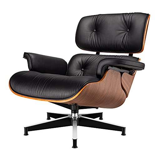 Lounge Chair and Ottoman Mid Century Chair Premium Replica Classic Furniture - Full Grain Leather, Plywood and Heavy Duty Swivel Base Support (Upgrade, Style-104)