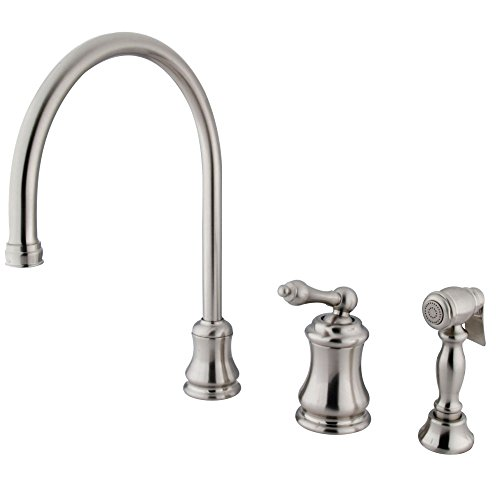 """Nuvo ES3818ALBS Elements of Design Chicago Single Handle Widespread Kitchen Faucet with Brass Sprayer, 9"""", Brushed Nickel"""