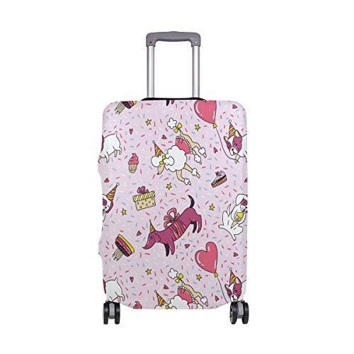 Funda Protectora para Maleta de Viaje con diseño de Perro de Dibujos Animados, Color Rosa, para Adultos, Mujeres, Hombres, Adolescentes, para 18 a 20 Pulgadas
