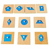 YeahiBaby 10 unids Madera Geometría Puzzle Montessori Juguetes Matemáticos Educación Infantil Educación Preescolar Niños Juguetes
