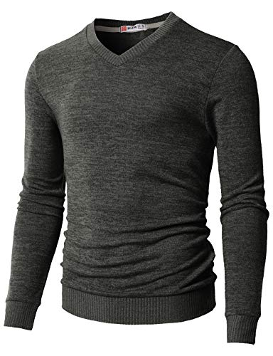 H2H Mens Knitted Slim Fit Pullover Sweater Shawl Collar with One Button Point Charcoal US L/Asia XL (CMOSWL018)