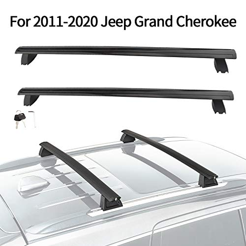 MONOKING Cross Bars Roof Rack Compatible for 2011-2020 Jeep Grand Cherokee Aluminum ABS Cargo Carrier Kayak Rooftop Luggage Crossbar Max Load 155 LBS