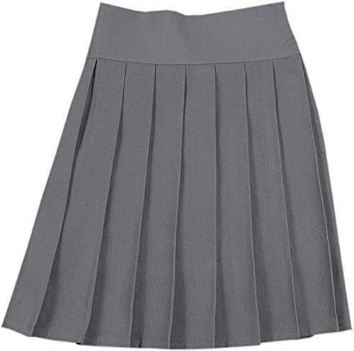 NAWONGSKY Women's Elastic Waist Solid Plain Pleated School Uniform Cosplay Costume Skirt, Grey, Tag L = US M