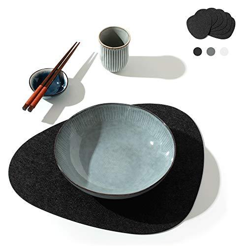 chillify Filz-Platzmatten im edlen Stein-Design - Filz-Tischmatte im 6er Set - rutschfest, hitzebeständig, Maschinen-waschbar - Dunkel Grau