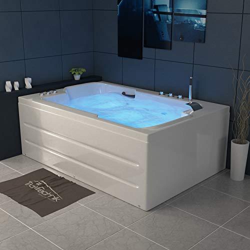 Tronitechnik Whirlpool Badewanne LEROS 180cm x 120cm inkl. Hydromassage und Farblichtherapie