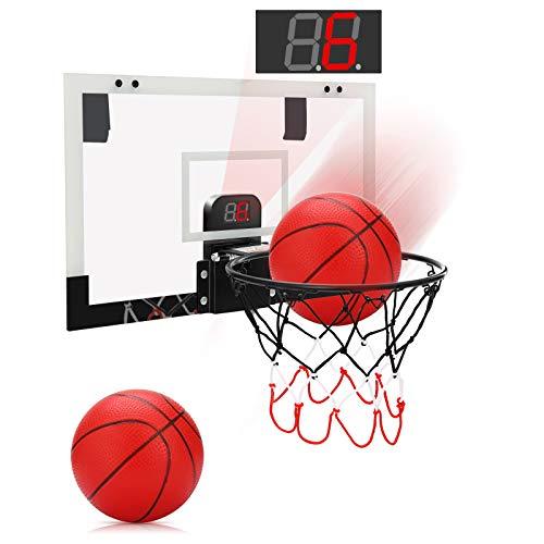 PELLOR Mini canasta de baloncesto para habitación con función electrónica de evaluación y sonido, tablero de baloncesto colgante con 2 pelotas y bomba, juego de lanzamiento para niños