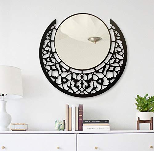 BAUPOR - Espejo de pared redondo de metal con diseño único, espejo decorativo para entradas, sala, baños y oficina, moderno marco negro 50 x 50 cm