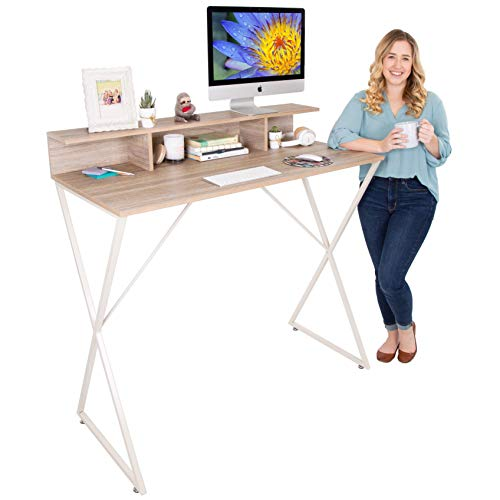 Stand Steady Joy Desk | Modern Stand Up Workstation with Storage Cubbies | Pretty Standing Desk with Large Desktop | Multifunctional Table for Home & Office (Maple / 48 x 42)