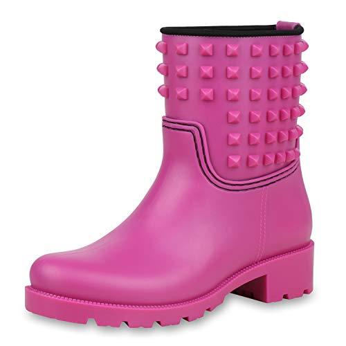SCARPE VITA Damen Stiefeletten Gummistiefel Regenschuhe Profilsohle Stiefel 170784 Pink 38