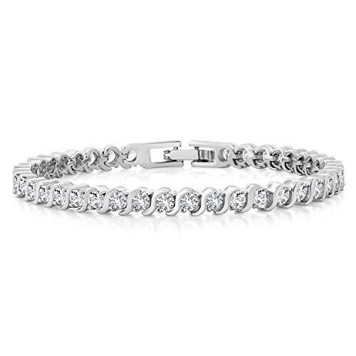 Gem Stone King 4.50 Ct Stunning Round White Cubic Zirconia CZ Tennis Bracelet 7 Inch