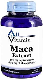 Maca Extract 1600mg 200 Capsules - (Non-GMO, Gluten Free, GMP) Promotes Stamina and Energy - Made in USA - All Vitamin Pre...