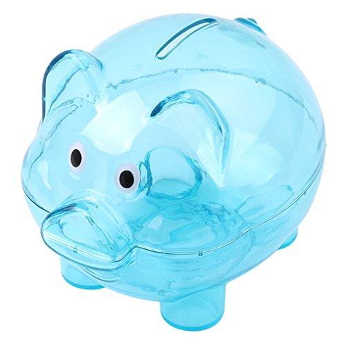 ODN Sparschwein aus Kunststoff Transparent Kreatives Schwein Form Spardose für Kinder (Blau)
