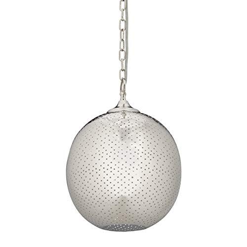 Relaxdays Suspension luminaire de plafond lampe rétro boule thé trous argenté HxD: 41 x 27 cm, lampe en nickel, argentée