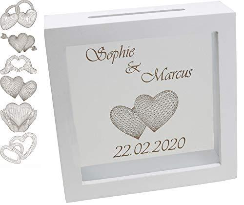 Spardose Hochzeit personalisiert 15x15x5 cm mit Namen und 3D Motiv