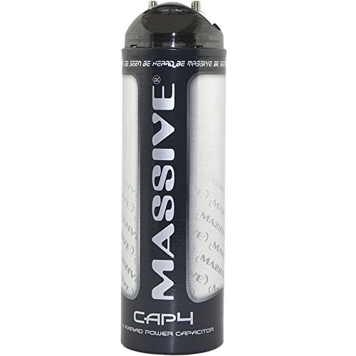 Massive Audio CAP4 – 4 Farad Car Audio Capacitor with Automatic Standby Mode, LED Display, Fast Charge/Discharge, Chrome Plated