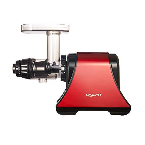 Neo DA 1200 Entsafter Slow Juicer - Horizontaler Entsafter für Sellerie, Weizengras, Früchte, Gemüse - maximale Nährstoffe, leiser Motor, Sorbet, Pasta & Dips herstellen - BPA-frei (Rot)