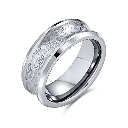 Bling Jewelry Tono de Plata Celtic Nudo Dragón Inlay Pareja
