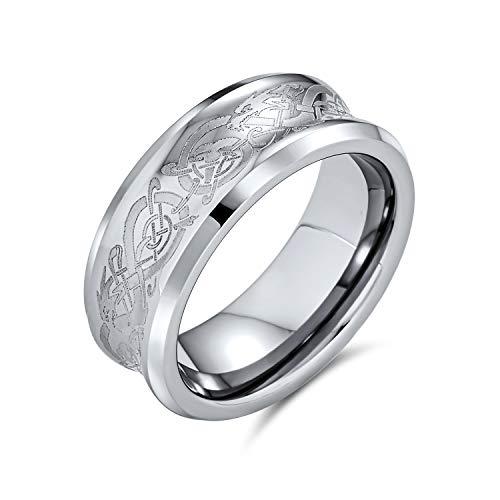 Bling Jewelry Tono de Plata Celtic Nudo Dragón Inlay Parejas Concava Titanio Anillos de Boda para Hombres para Mujeres Confort Fit 8MM