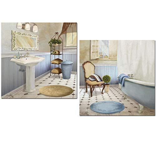 Cuadros para para el baño BAÑERA Y LAVABO azul 24X24X7, con adhesivo industrial doble cara para pegar y protección anti humedad. Fácil instalación.