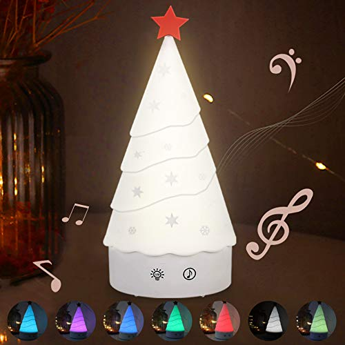 Cute Night Light for Kids Rechargeable Touch Sensor Music Lamp 7 Color Christmas Tree Silicone Living Bedroom Table Ornaments Birthday Gifts for Baby Kids Boy Girl