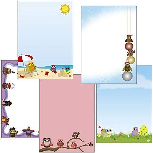 Eulen Briefpapier-Mix2 Eulen-Ostern - pink - Liegestuhl - Weihnachten Kugeln - Fasching 50 Blatt 5x10 Blatt DIN A4 90 g/m²