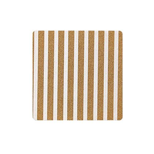Baldosa de corcho para pizarra, ideal para usar como tabla de notas o colgar fotos, para la oficina, escuela, casa, 1 unidad, color White Stripes-Square