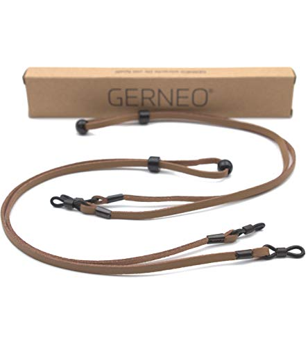 GERNEO® - DAS ORIGINAL - Premium Brillenband Leder aus hochwertiger PU Glatt- und Wildlederoptik Kombination für Lesebrille & Sonnenbrille - 2x hellbraun - Befestigung in schwarz - 2er Pack