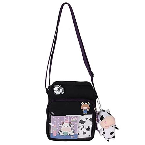 Harajuku - Bolsa de lona con patrón de vaca para mujer, mensajero para niñas, transprante, bolsa cruzada con bonito colgante de hadas, jardín, hadas, accesorios de jardín de resina, adornos de jardín