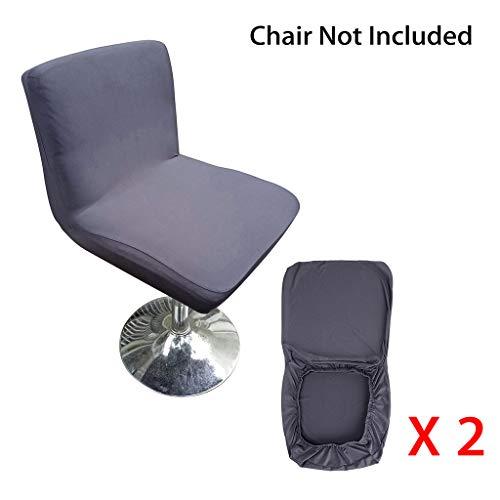 BSTKEY Barhocker Schonbezüge mit Rückenlehnenbezug Stretch Stuhlhusse für Kurze Drehstuhl Esszimmerstuhlrücken Stuhl Barhocker Stuhl dunkelgrau