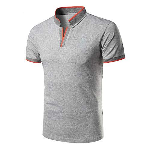 Yowablo Herren Poloshirt Polo Polohemd Kurzarmshirt Shirt Basic Casual Fashion Stehkragen Kurzarm Polo Shirt Bluse (XL,1Grau)