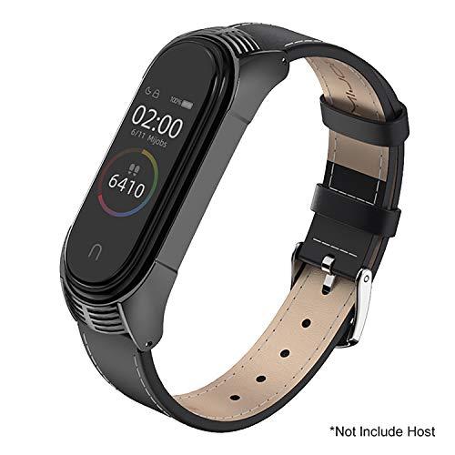 SenMore Kompatibel Für Xiaomi Mi Band 4 Mi Band 3 Armband Leder,Lederarmband Armband Uhrenarmband Handgelenk Smartwatch Ersatzbänder für Xiaomi Mi Band 3 Mi Band 4