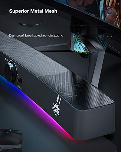 PC Lautsprecher, BlitzWolf USB RGB Computer Lautsprecher Gaming Speaker Mini Soundbar tragbar Subwoofer mit 2,0-Kanal, RGB-Licht für PC Computer, Laptop, Notebook, Smartphone, Tablet (Schwarz)