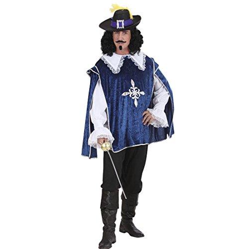 Amakando Musketierkostüm blau Ritterkostüm Renaissance M 50 Musketiere Hemd und Überwurf Musketier Kostüm Karnevalskostüme Herren Mittelalter LARP Umhang Königlicher Ritter Mittelalterkostüm