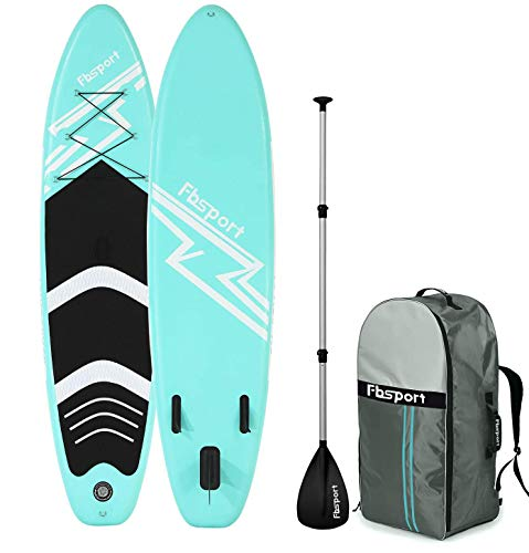 FBSPORT Premium Inflatable Stand Up Paddle Board (6 inches Thick) with Durable SUP Accessories & Bag | Wide Stance, Surf Non-Slip Deck, Leash, Paddle and Pump, Standing Boat for Youth & Adult