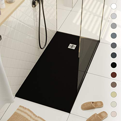 Shower Tray 700 x 1500 Stone Resin Ebro - Anti Slip and Low Profile - Matte Finish and Slate Effect - All Sizes Available - Shower Waste and Grid Included - Black RAL 9005