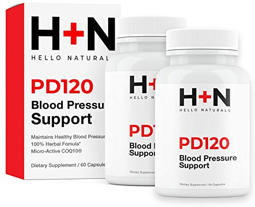 High Blood Pressure Support Supplements by PressureDown 120 | Lower Your BP Naturally | Heart Healthy Cardiovascular Formula has CoQ10, Vitamin D & L-Theanine | 120 Stress Reducting Veggie Capsules