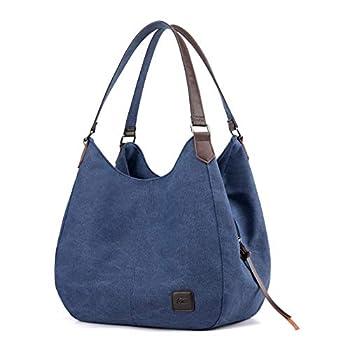 DOURR Women s Multi-pocket Shoulder Bag Fashion Cotton Canvas Handbag Tote Purse  Dark Blue 1 - large size