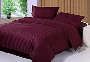 Om Decorr 100% Satin Cotton 300Tc Double Bedsheet with 2 Pillow Covers - King-Queen Bed Size (90 inch x 100 inch) Mehroon