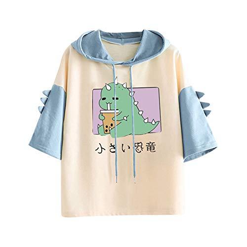 sunnymi Camisetas para mujer, estilo informal, con diseño de dinosaurios, manga corta a S