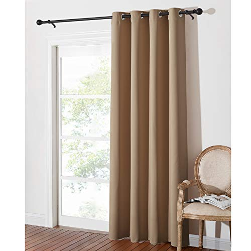 PONY DANCE Living Room Blackout Curtain - Eyelet Top Blackout Curtain for Bedroom/Living Room Home Decoration Thermal Insulated Window Treatment, 1 Panel, 52-inch Wide by 84-inch Drop, Mocha