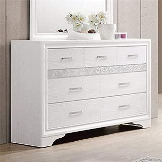 BOWERY HILL 7 Drawer Dresser in White and Rhinestone