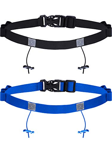 JOVITEC 2 Pieces Race Number Belt with 6 Gel Loops for Running Cycling Triathlon Marathon (Black and Blue)