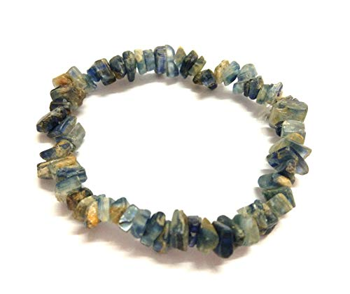 Jet New Blue Kyanite Chips Bracelet Gemstone Free Booklet Crystal Therapy Thanks Giving Cleansings Cheerfulness Creativity Image is JUST A Reference.