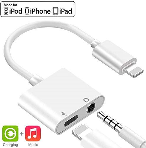 Kopfhörer Adapter für iPhone 11 Aux Adapter 3,5mm Audio und Lade Adapter für iPhone 8/8 Plus/7/7Plus/X/XR/XS max Aux Audio Kopfhöreranschluss Adapter Unterstützung iOS 12 oder höher - Weiß